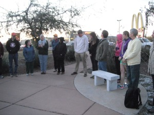 Pastor Mark Adams giving instructions for the vigil.