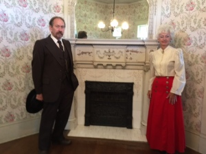 Sidna and Betty in front of their parlor fireplace. Unfortunately, the historical couple weren't able to grow old in their home.